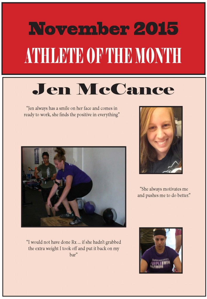 Athlete of the month Jen